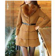 /淑女愛着/厚くて冬にぴったり/着やせするファー襟付きレディースロング丈コート♪♪フリル入り超可愛い