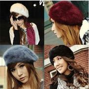 レデイース/フリーサイズ/編み織/ウサギ毛 100 %帽子/