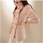 無地3色/長袖/ダブルブレスト/ゆったりなデザイン/ウールコート