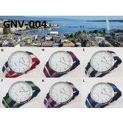★日本製ムーブ使用★ GENEVAユニセックス腕時計 NATOナイロンベルト リボンカラー 3本ライン