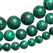 ▼MAGGIO▼【ビーズアクセ】模造石の為、お得な価格にて販売中♪ 縞模様マーブルグリーン丸玉1連