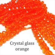 クリスタルガラス ビーズ ボタンカット オレンジ 連売り 《SION パワーストーン 天然石》