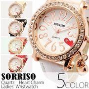 正規品SORRISOソリッソ ハート文字盤にラインストーンベゼル ハートチャーム腕時計 SRF15 レディース腕時計