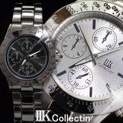 【IIK collection】[2色]イミテーションクロノグラフデザイン メンズウォッチ(腕時計)