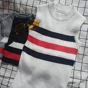 夏★新しいデザイン★女性服★色付きのストライプ★ノースリーブ★ニッティング★ボトムシャツ