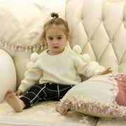 新作 女の子 毛玉付ニット セーター 長袖 ニットウェア 無地 ジュニア ショート丈 トップス キッズ 子供服