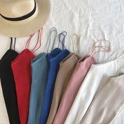 新しいデザイン 女性服 単一色 着やせ ニッティング ホルタートップ アウトドア Vネッ