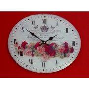 【SALE】  ガラス時計ホワイトローズ オーバル