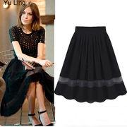 透ける素材切替フリルプリーツAラインゆったりロング丈スカート