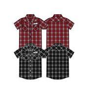 RUN MAX 先染めブロード半袖チェックシャツ(130cm~160cm)