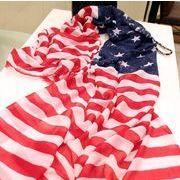 アメリカの国旗/プリント/薄手/レトロ/色切り替え/日焼け止め/スカーフ/ストール/ケープ/レデイー