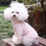 【即納】【激安犬服】バラのシースルートップス ピンク TOBABY