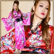 【再入荷】1004レースフリルリボンつきサテン花魁着物ドレス衣装 ダンス よさこい コスプレ キャバドレス