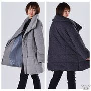 【アウトレット412137】大きいサイズ☆中綿入り ボリューミー カラー ジップアップ 長袖 コート LL 3L 4L