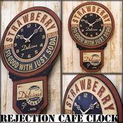 【Rejection Cafe Clock Strawberry】レトロ雑貨 レジェクションカフェ ストロベリー クロック【壁掛時計】