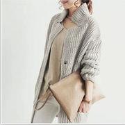 秋冬物新作/モノカラー/中・長丈/ゆったり感/厚手/大きいサイズ/セーター/アウター/