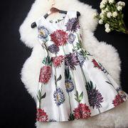 デイジー柄プリントワンピース☆品質のいい生地に賑やかにプリントされていて美しいドレスです♪エレガント