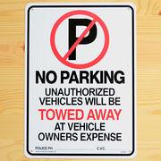 看板/プラスチックサインボード 駐車禁止/駐禁 No Parking(Towed Away) ノーパーキング CA-26
