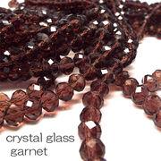 クリスタルガラス ビーズ ボタンカット ガーネット 連売り 《SION パワーストーン 天然石》