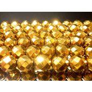 天然石64面カットゴールデンオーラ【ゴールド加工】6ミリ→12ミリ