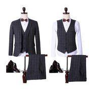 メンズ/3点セットアップ グレンチェック柄 スーツ ビジネス フォーマル/スリーピース/結婚式パーティー