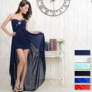 0550胸元ビジューギャザーテールカットロングドレス パーティードレス フォーマル キャバドレス