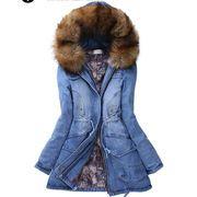 ♪暖かい冬新作♪ ゆったりするレディースロング丈厚手アウター ファーフード付きデニム綿コート/ 着痩