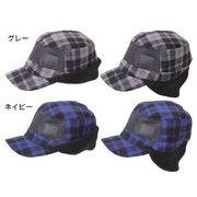 フリース 防風・耳あて付きキャップ ネイビー MAT-03