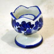 キャンドルスタンド・香炉青白陶器-ブルー&ホワイト染付手描き