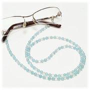 シーブルーカルセドニー×水晶 メガネチェーン 眼鏡チェーン グラスコード