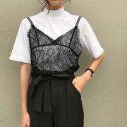 夏★新しいデザイン★女性服★アンティーク調★小型高襟★短袖★白★Tシャツ★まつげ★Vネッ