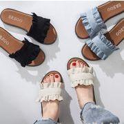 新作 女の靴 サンダル シューズ カジュアル スリッパ 3色 平底 可愛いデザイン