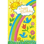 Stockwell Greetings グリーティングカード バースデー 虹・フラワー・鳥・太陽
