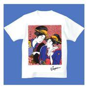 FJK 日本 お土産 Tシャツ 浮世絵 Sサイズ (ホワイト)No.18-S