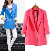 お菓子カラーのジャケット☆1つボタンのシンプルな定番デザイン♪袖口をロールアップすれば配色デザインが