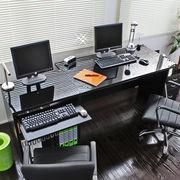 【予約販売4月上旬】ダブルデスク 日本製 120デスク+60 パソコンデスク ラック+チェスト FM18BK-N