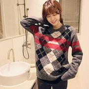 韓国スタイル/Naning9新商品/レトロ風/チェック柄セーター♪