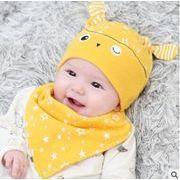 ★秋冬新作★韓国風★キッズ・ベビー帽子+よだれかけ★2点セット
