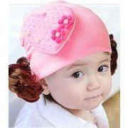 ★同梱でお買得★新作★ニット帽子★ベビー帽子★可愛いハート形&かつら付き ★かっこいい 4色