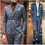 ダブルスーツスーツ チェック柄 おしゃれ スーツセットアップ メンズ ビジネス 結婚式 スーツ 春着