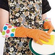 【在庫限り】キッチン用品★ゴム手袋★家事をオシャレに♪ 起毛付キッチングローブ(水玉)