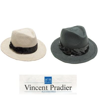 Vincent Pradier スパンコールリボン 中折れハット 【新作】