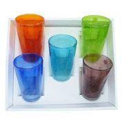 【感謝をこめて沖縄伝統工芸品を贈ります】泡ロンググラス5個ギフトセット(オレンジ・青・水・緑・紫)