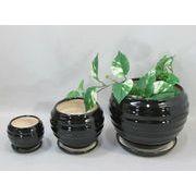 陶器植木鉢3点セット(受皿付)【モノトーン・縞】