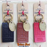 【日本製★栃木レザーを使用したキーリング★真鍮プレート付き★TICKET】LEATHER TICKET KEY RING