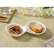 【強化】 2連前菜皿(9号)   変形皿/おうちカフェ/フレンチ皿/白食器
