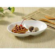 【強化】 ランチプレート(2つ仕切り楕円型)   おうちカフェ/仕切り皿//白食器