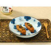 【強化】 7号丸皿(青い四つ葉)    おうち料亭/業務用食器/中皿/大皿/丸皿/