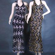 刺繍ホルターネックロングドレス