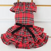 日本製 セレブスタイル 高品質ペットウェア 犬服のロイヤルチェックワンピ(レッド)  SS/S/M/MD-M/L